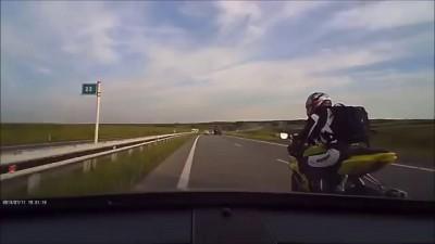Хруст ты не прав! Жуткая авария мотоциклиста 18+