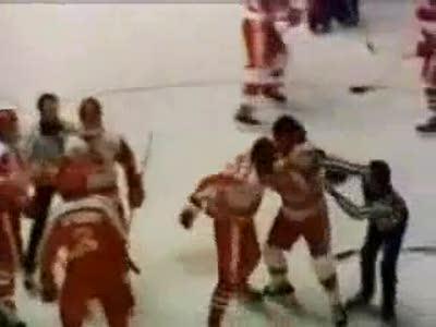Хоккей, драка СССР - Канада, 1987г