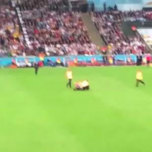 Полуголый болельщик выбежал на поле во время финального матча Германия-Аргентина