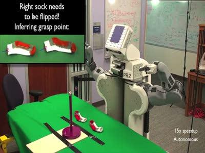 Робот складывает носки