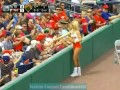 Hooters Ballgirl Picks Up Live Baseball And Tosses it To Crowd
