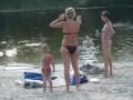Аист пытается утащить пляжное полотенце