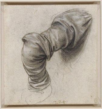 """""""Драпировка.  Правый рукав Святого Петра """", приблизительно 1493-1496 годы."""