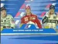Michael Schumacher cries during 2000 Italian Grand Prix press conference